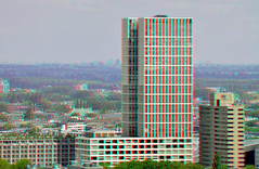 The First-Tower Rotterdam 3D (wim hoppenbrouwers) Tags: thefirstbuilding rotterdam 3d the firsttower anaglyph stereo redcyan view from euromast