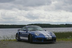 "997 turbo - 019 (Erkka Suominen) Tags: ""cobalt blau porsche"" blue ""bridge gantry"" nürburgring ""porsche 911 turbo"" ""911 ""997 ""pwr700"" ""evoms evt775"" ""evt775"" ""nürburgring bridge pccb"