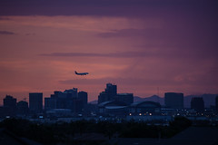 Bumpy Arrival (todd*) Tags: phoenix sunset downtown airplane rain camera shake camerashake