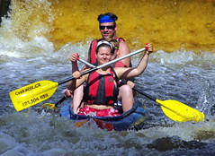 23.8.16 Vyssi Brod Weir 056 (donald judge) Tags: czech republic south bohemia vyssi brod weir boats rafts canoes river vltava