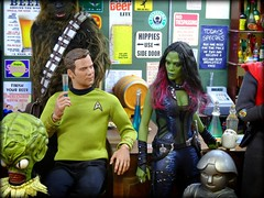 Kirk's Shoreleave (MiskatonicNick) Tags: qmx kirk clearancebin bar diorama gamora guardiansofthegalaxy hottoys toyville playscale 16 sixthscale