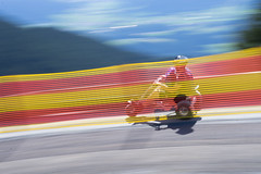Downhill with the mountain cart in the Austrian Alps (harald.bohn) Tags: mountain cart speed fart downhill fence red yellow fjell utfor st johann