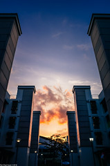 Between the towers (Chye Guan, Tan) Tags: sunset landscape urbanscape pandagarden pandan singapore singaporescape hdb hdbscape hdbheartland heartland ricohgrii ricoh