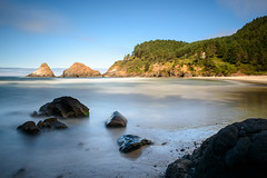 The pro dips her gradually above a friendly gesture. (TheRealMichaelMoore) Tags: 2016 florence hacetahead lighthouse nd1000 oregon siuslawnationalforest beach coast longexposure ocean rocks seastack water unitedstates