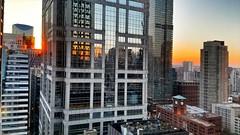 Orange line (CzechInChicago) Tags: chicago skyline sunset reflection window skyscraper building windows buildings