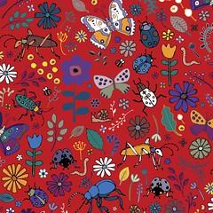 Butterflies, beetles & blooms - deep red (Cecca W) Tags: spoonflower pattern patterndesign surfacedesign fabricdesign patternblock surfacepattern fabric redbubble repeatpattern