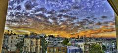 August 29 Sunset Panorama (Walker Dukes) Tags: sfbayarea sky orange onfire blue black buildings california urban cityscape landscape clouds victorian violet vista pink photomatix photoshop purple photograph red streetsofsanfrancisco green gold yellow cyan