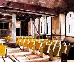 De Gehoorzaal (max baris) Tags: auditorium school building decay max baris oil painting oilpanting maxbaris chairs hall harlem ny