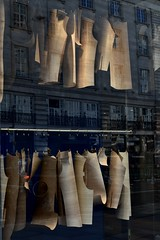 Tailor's Shop Window, London (audrey.hollasch) Tags: shapes cut reflect repeat sidebyside hang create london sell urban mirror glass reflection storefrontreflection shopfront tan tailor shape pattern
