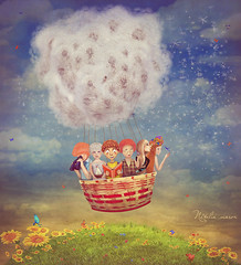 Happy children in the   air balloon in the sky - illustration art (marozn) Tags: island fantasy illustration balloon children girl boy happy adorable sky air bird dream idea tale toy fantastic clouds child spring summer study knowledge garden nature eco grass field season school blank banner man men woman kid kids young friend friendship smile art message vacation kite many dandelions blowball