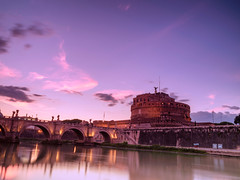 Itali (sandilesmana28) Tags: sunset roma rome river landscape cloud bridge water reflection slowspeed architecture history building