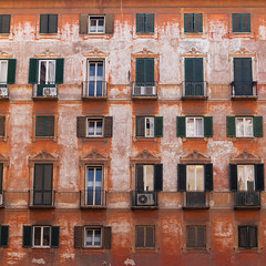 Beautiful Old Facade Rome (futurepics) Tags: rome italy canon 30mm eos 50d facade windows graphic red orange building colorful geometric graphicphoto 100v10f
