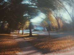 6/16 (nikaylasnyder) Tags: motion blur long exposure swirl landscape trees homes houses mcdonalds blue skies fall autumn filter