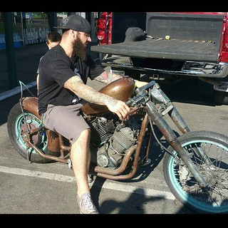 My boy Anthony with his new one of a kind Bobber!. I know his amazing sons will have a blast with dad in the garage making it their own. Makes the heart happy to place things where they will do the most good. Enjoy buddy!