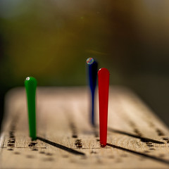 (donna leitch) Tags: pegs game cribbage board homemade shadows light