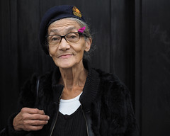 Susan (Explore) (jeffcbowen) Tags: susan street stranger toronto portrait yugoslavia hat flower