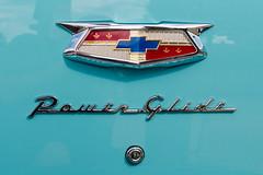 Power Glide (GmanViz) Tags: gmanviz color car automobile detail chrome nikon d7000 1954 chevrolet belair trunklind badge script type crest