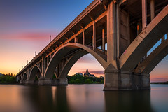 Under the Bridge - Saskatoon Saskatchewan (Explore - Best Position #7 - September 26, 2016) (Brian Krouskie) Tags: nikond800 nikon173528 longexposure sunset broadway bridge saskatoon saskatchewan water clouds pink blue reflection bez bessborough hotel
