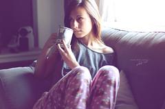 Morning (Rakeru Space) Tags: rakerusensei rakeru photography green tea totoro mug pajamas