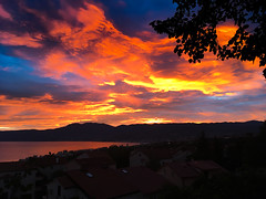 Fire on the Sky (Tomislav C.) Tags: croatia hrvatska kvarner rijeka ucka city cloud clouds cloudy iphone iphonese landscape landscapes natural nature panorama sky sunset outdoor dusk serene