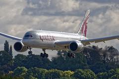 The Dreamliner from Doha (kate&drew) Tags: 2016 airports birmingham birminghamairport birminghamuk england october westmidlands a7bck qatarairways boeing787 dreamliner bhx