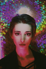 (emmakatka) Tags: rainbow technicolor iridescent makeup girl portrait woman eyes beautiful light glow neon rainbows spectrum dark shadow shadows nightlife emmakatka fashion