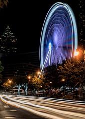 Ferris Wheel Traffic (4 Pete Seek) Tags: atlantageorgia atlanta atl atlantaurbanphotowalkers aupw skyview skyviewatlanta ferriswheel longexposure le slowshutter nightphotography
