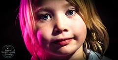 Pink and Green (SimonTHGolfer) Tags: portrait portraitphotography child girl strobe offcameraflash gelatine gels colouredgels coloredgels closeup blueeyes nikon simontalbothurnphotography studio