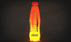 Glow (BenHeathPhotography) Tags: studio photography blackandwhite october colour color canon colourful canon60d colorful cc composition college viewpoint grunge product productphotography lucozade young amateur 1855mm bee lighting softbox