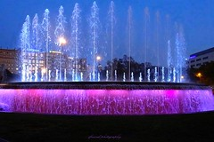Night views on Plaza Catalunya, Barcelona (jackfre 2) Tags: catalunya spain barcelona night plazacatalunya fountains lightfountains colouredfountains square