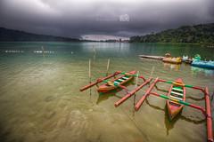 Calm... (palashmitter) Tags: hdr highdynamicrange landscape boat mountains lake clouds bali ulun danu bratan ulundanu bedugul indonesia