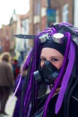 IMG_3242 (Neil Keogh Photography) Tags: black girl sunglasses glasses purple goggles buskers gasmask rockband cybergoth trianglesquare whitbygothweekend cyberlocks cyberfalls manchestercitycenter