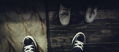 Mine and I (Instant Vantage) Tags: leica red white black feet boat shoes rubber sneakers canvas flats converse toebox leicadlux4 dlux4