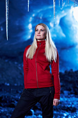 Valds (LalliSig) Tags: blue winter red portrait people woman white black cold ice fashion yellow iceland model photographer portraiture icicle cave zoon