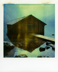 House (Bastiank80) Tags: camera house lake color film nature water analog polaroid sx70 integral land instant expired timezero knigsee obersee berchtesgadener