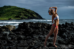 _84A6431 shaholly joe marquez the smoking camera nikon d800 58g (The Smoking Camera) Tags: ocean sexy beach beautiful hawaii lava model nikon rocks dof bokeh f14 14 naturallight bikini swimsuit 58mm d800 58g