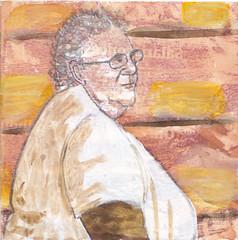 # 235 (22-08-2016) (h e r m a n) Tags: herman illustratie tekening bock oosterhout zwembad 10x10cm 3651tekenevent tegeltje drawing illustration karton carton cardboard vrouw woman portrait portret