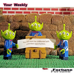 3 Lil Aliens (richardredhawk) Tags: lego alien fortune cookie