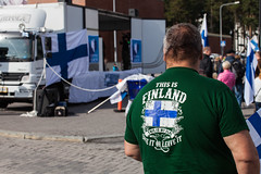 Nationalist Rally (Tuck Happiness) Tags: helsinki finland vuosaari mielenosoitus demonstration rally finnish flag protestors demonstrator