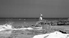 fishing (point camera) Tags: monochrome monocolore monotone monotono biancoenero blcakandwhite bnw fishing pescando pesca sea seaside mare