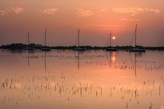 Sunset Over Bosham Channel (Explore 28-8-2016) (Sunset Snapper) Tags: sunsetoverboshamchannel sunset bosham westsussex chichesterharbour southcoast roundsun uk calm still tranquil reflections boats yachts reeds cloud filter lee nd grad nikon d810 2470mm august 2016 sunsetsnapper