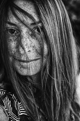 Resplendent (flashfix) Tags: september132016 2016 2016inphotos nikond7000 nikon ottawa ontario canada 40mm portrait selfportrait blackandwhite monochrome hair freckles eyes smile woman messyhair