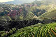 Rice terraces in Longsheng, Yunnan (daniele.boffelli) Tags: cina terraces rice china yunnan longsheng nature sunset village old ancient color colors green sun clouds summer hot travel traveling rain smoke