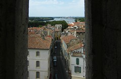View from Amphitheatre (AmyEAnderson) Tags: outdoor view buildings houses town village rooftops river rhone arles france bouchesdurhone provence windows street alley horizon landscape reds