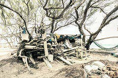The other side of paradise (Busha_b) Tags: shack hut beach caribbean barbados poverty squalor poor squalid antilles rubbish hammock