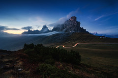 A darkness rises up (Simon_Bauer) Tags: passo di giau italy italien sunset lighttrails sdtirol cortina d ampezzo nikon mountains berge alps alpen blue hour fog clouds nebel nisi formatt hitech