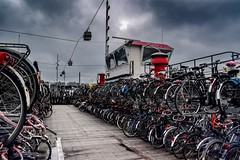 Amsterdam (yannicksimmen) Tags: harbour colorfull kontraste contrast dynamic dynamik bycicle fahrrad river fluss bahnhof mainstation central boot hafen amsterdam port harbor sturm storm darkness sky clouds wolken himmel