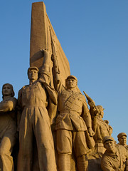 Monument, Tiananmen Square (HerringCoveMike) Tags: beijing china asia soldiers warriors statue fierce bold resolute heroes tiananmensquare
