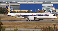 DELIVERY FLIGHT OF THE 10,000TH AIRBUS (AIRBUS A350-900 SINGAPORE AIRLINES) 9V-SMF MSN054 (F-WZFD) IN TOULOUSE-BLAGNAC AIRPORT         OCTOBER   15,2016 (jleroch) Tags: sia singaporeairlines staralliance star alliance 9vsmf airbus 10000ème historique aviation avion plane toulouseblagnac toulouse airport aeroport a350900xwb xwb msn054 fwzfd delivery