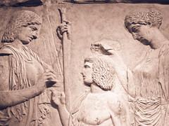 Marble fragment of Great Eleusinian Relief, Roman 27 BC (Sharon Mollerus) Tags: copyofgreekmarblereliefca450425bc greece greekart marblefragmentofgreateleusinianrelief metropolitanmuseumofart newyorkcity roman27bcad14001440 xss
